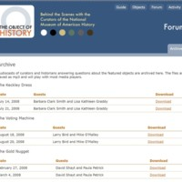 Object of History Forum Page Partial Screenshot